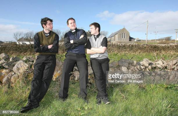 Tipperary men Danny Lambe and Billy Lyons and Enda Fogerty take in their surroundings at the Father Ted Festival on Inis Mor Island in the west of...
