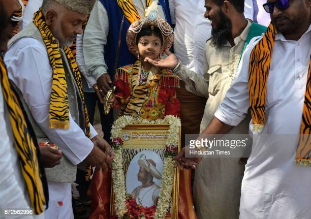 Tippu Sultan United Front pays floral tribute on the birth anniversary of Tiger of Mysore outside Tippu Sultan's summer palace on November 10 2017 in...