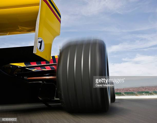 Tire and Back Wing on Formula One Racecar