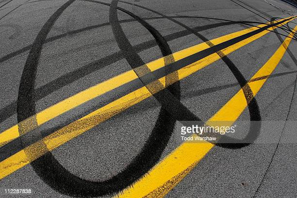 Tire burnout marks left by Jimmie Johnson driver of the Lowe's Chevrolet after winning the NASCAR Sprint Cup Series Aaron's 499 at Talladega...