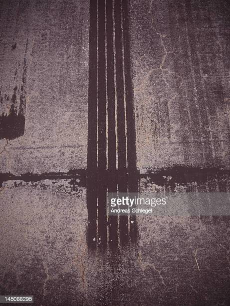 Tire marks on a road surface