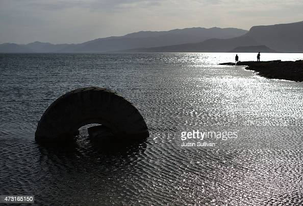 A tire sits in the waters of Lake Mead near Boulder Beach on May 13 2015 in Lake Mead National Recreation Area Nevada As severe drought grips parts...