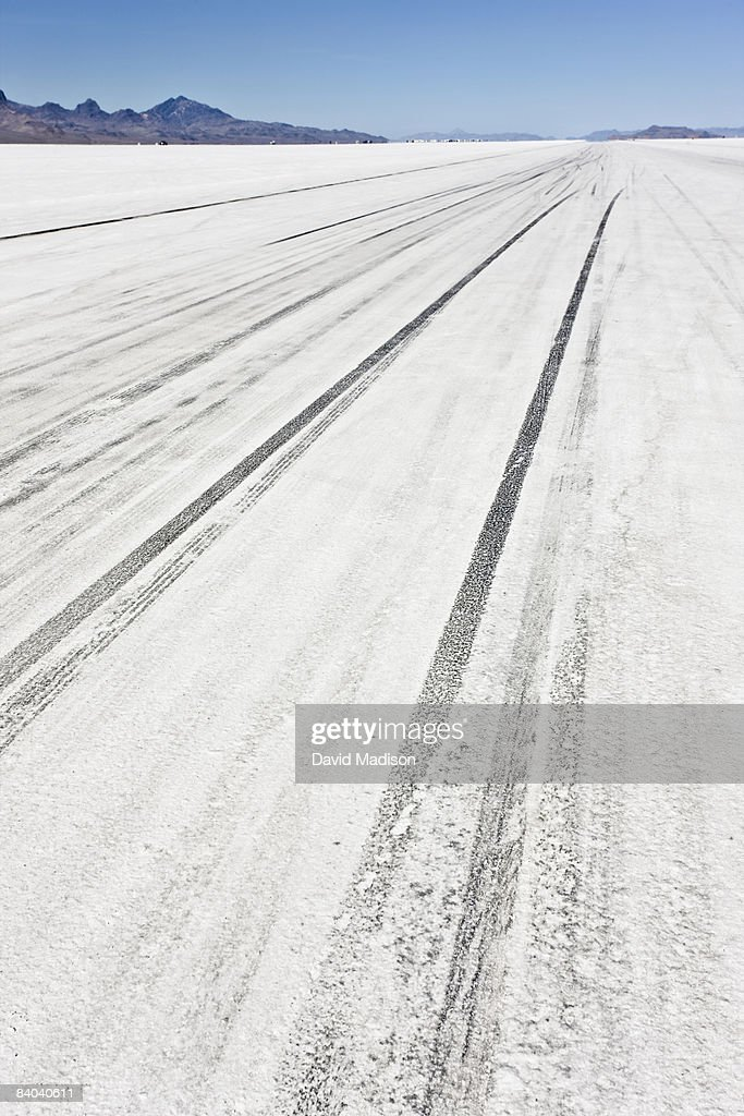 Tire tracks on dry lake bed during Speed Week. : Stock Photo