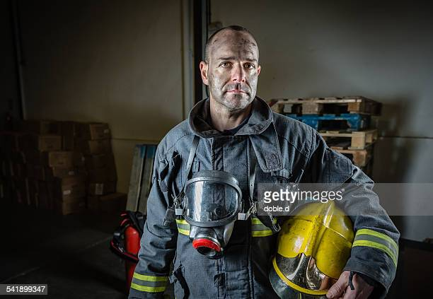 Tired firefighter after a emergency intervention