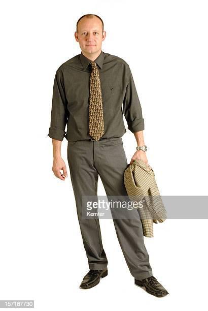 Eine müde Geschäftsmann posieren suchen