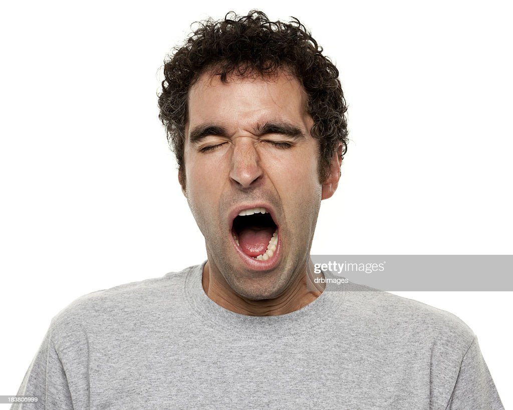 Tired Yawning Man Stock Photo | Getty Images