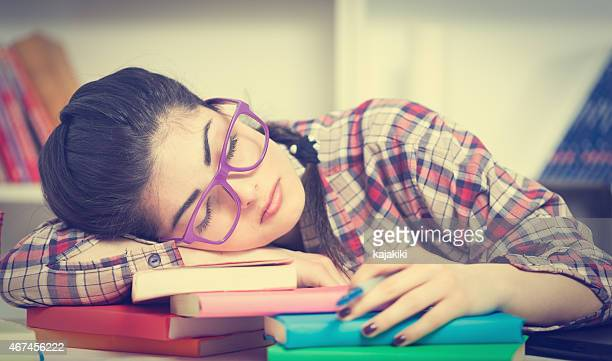 Tired Young Attractive Student Girl