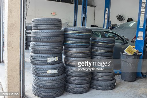 Tires at the Repair Shop : Stock Photo