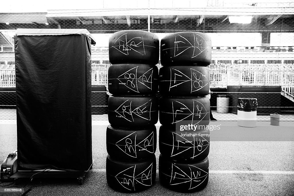 tires stacked on pit row before the 100th Running of the Indianapolis 500 Mile Race at Indianapolis Motorspeedway on May 29, 2016 in Indianapolis, Indiana.
