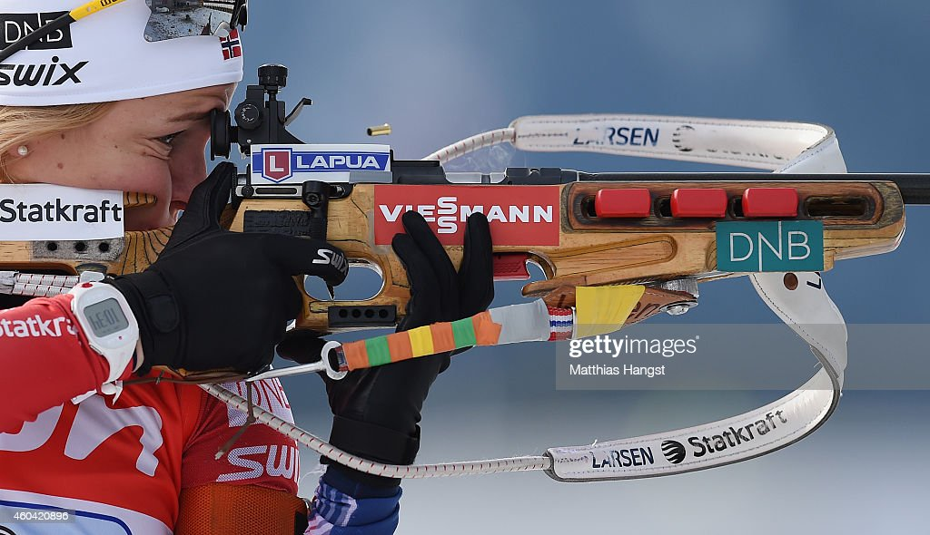 <a gi-track='captionPersonalityLinkClicked' href=/galleries/search?phrase=Tiril+Eckhoff&family=editorial&specificpeople=10023336 ng-click='$event.stopPropagation()'>Tiril Eckhoff</a> of Norway at the zeoring for the women 4 x 6 km relay event in the IBU Biathlon World Cup on December 13, 2014 in Hochfilzen, Austria.