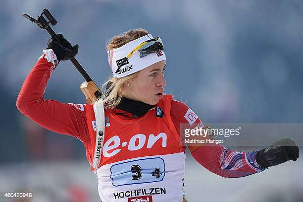 Tiril Eckhoff of Norway at the zeoring for the women 4 x 6 km relay event in the IBU Biathlon World Cup on December 13 2014 in Hochfilzen Austria