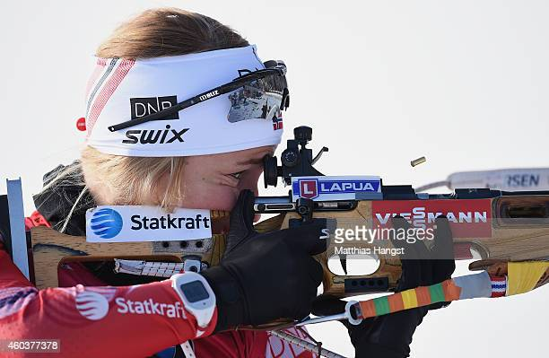 Tiril Eckhoff of Norway at the zeoring for the women's 75 km sprint event during the IBU Biathlon World Cup on December 12 2014 in Hochfilzen Austria