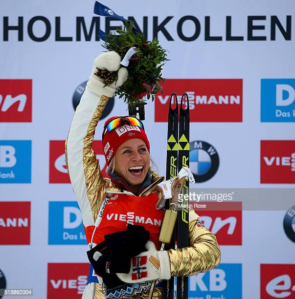 Tiril Eckhoff of Norway celebrates after winning the gold medal in the women's 75km sprint during day three of the IBU Biathlon World Championships...