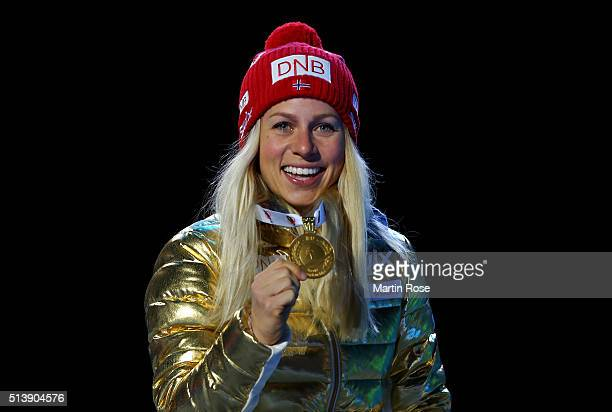Tiril Eckhoff of Norway celebrates winning the gold medal in the women's 75km sprint during day three of the IBU Biathlon World Championships at...