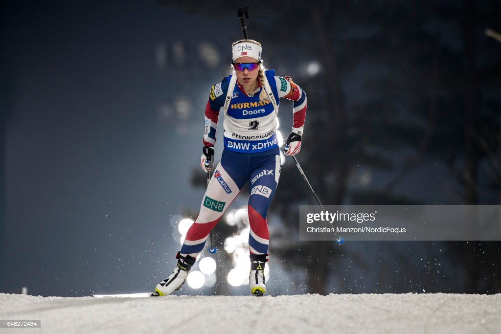 Tiril Eckhoff of Norway competes during the 10 km women's Pursuit on March 4, 2017 in Pyeongchang-gun, South Korea.