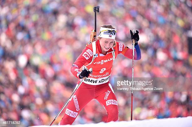 Tiril Eckhoff of Norway competes during the IBU Biathlon World Cup Men's and Women's Mass Start on January 18 2015 in Ruhpolding Germany