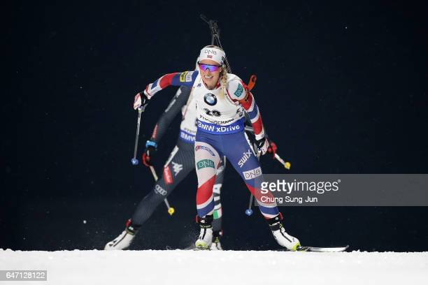 Tiril Eckhoff of Norway competes during the Woman 75km Sprint during the BMW IBU World Cup Biathlon 2017 test event for PyeongChang 2018 Winter...