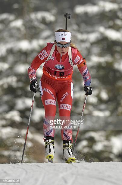 Tiril Eckhoff of Norway competes during the women 75 km sprint at the IBU Biathlon World cup in Hochfilzen on December 12 2014 AFP PHOTO / SAMUEL...