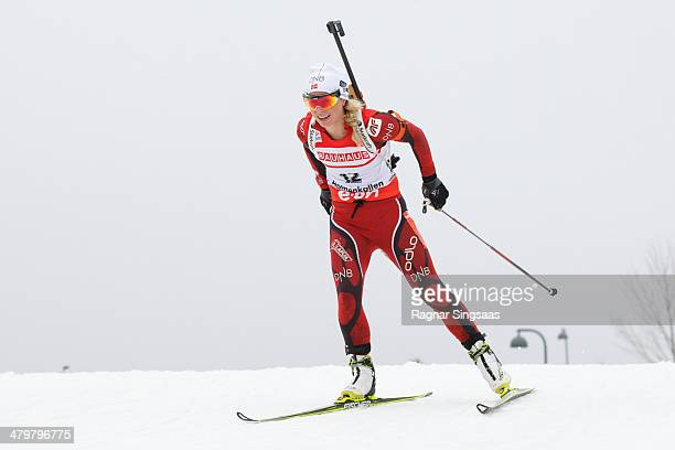 Tiril Eckhoff of Norway competes during the women's 75 kilometer sprint race of the EON IBU Biathlon Worldcup on March 20 2014 in Oslo Norway