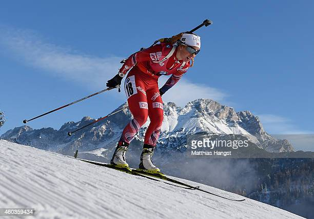Tiril Eckhoff of Norway competes during the women's 75 km sprint event during the IBU Biathlon World Cup on December 12 2014 in Hochfilzen Austria