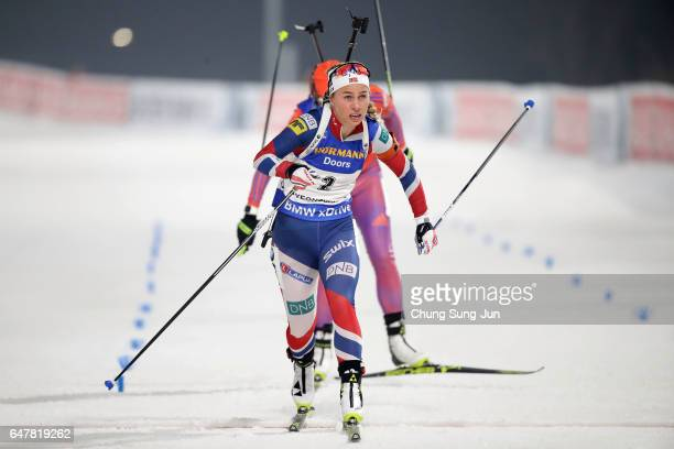 Tiril Eckhoff of Norway competes in the Woman 10km Pursuit during the BMW IBU World Cup Biathlon 2017 test event for PyeongChang 2018 Winter Olympic...