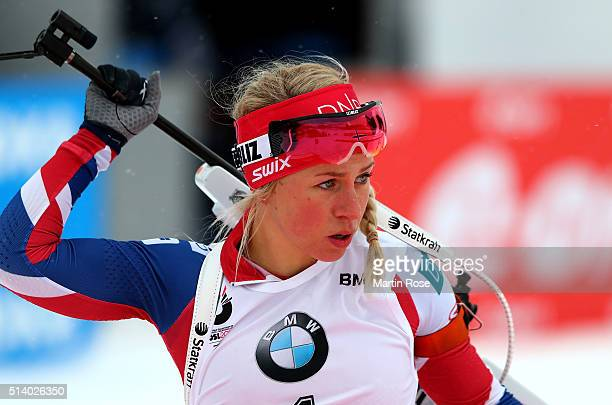 Tiril Eckhoff of Norway competes in the women's 10km pursuit during day four of the IBU Biathlon World Championships at Holmenkollen on March 6 2016...