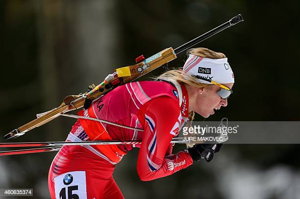 Tiril Eckhoff of Norway competes in the women's 75 km sprint event during the IBU Biathlon World Cup in Pokljuka on December 18 2014 AFP PHOTO / Jure...