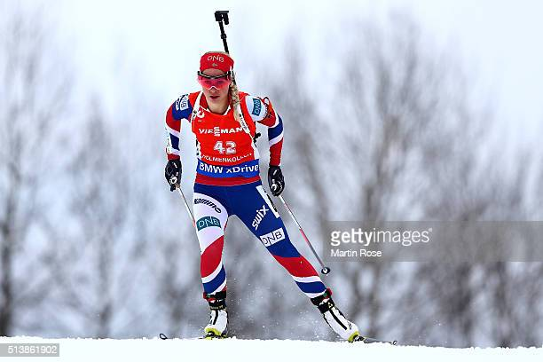 Tiril Eckhoff of Norway competes in the women's 75km sprint during day three of the IBU Biathlon World Championships at Holmenkollen on March 5 2016...