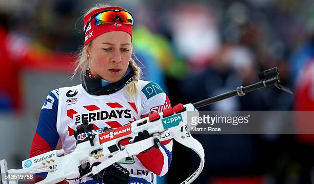 Tiril Eckhoff of Norway during the zeoring for the IBU Biathlon World Championships Mixed Relay at Holmenkollen on March 3 2016 in Oslo Norway