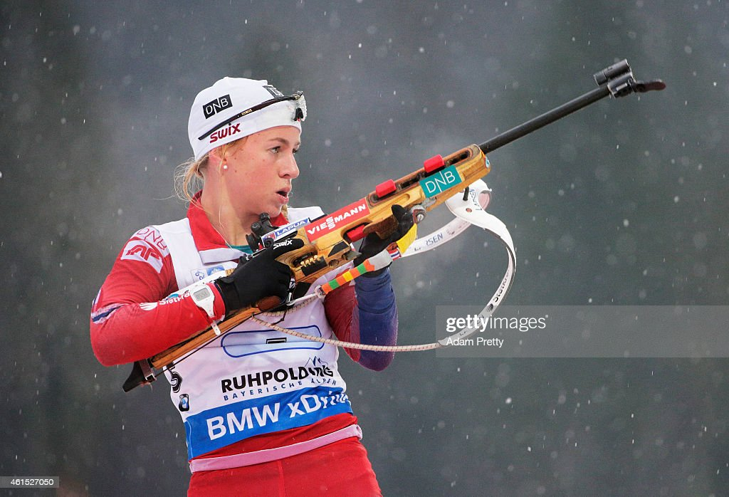 <a gi-track='captionPersonalityLinkClicked' href=/galleries/search?phrase=Tiril+Eckhoff&family=editorial&specificpeople=10023336 ng-click='$event.stopPropagation()'>Tiril Eckhoff</a> of Norway reloads during the IBU Biathlon World Cup Women's Relay on January 14, 2015 in Ruhpolding, Germany.