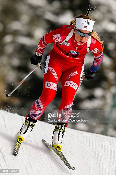 Tiril Eckhoff of Norway takes 3rd place during the IBU Biathlon World Cup Men's and Women's Sprint on December 12 2014 in Hochfilzen Austria