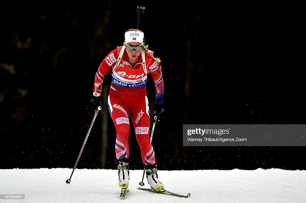 <a gi-track='captionPersonalityLinkClicked' href=/galleries/search?phrase=Tiril+Eckhoff&family=editorial&specificpeople=10023336 ng-click='$event.stopPropagation()'>Tiril Eckhoff</a> of Norway takes 3rd place during the IBU Biathlon World Cup Women's Sprint on January 16, 2015 in Ruhpolding, Germany.