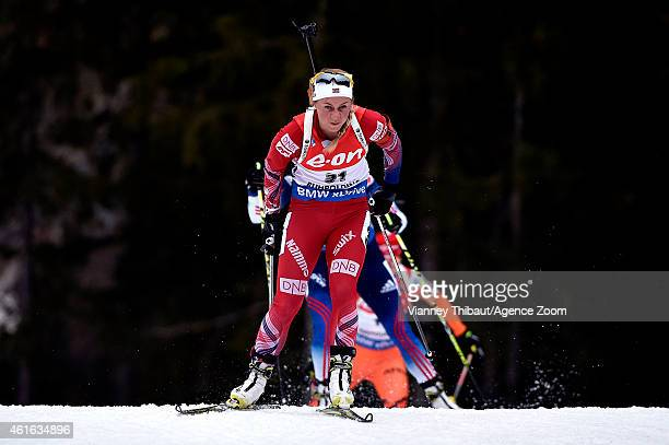 Tiril Eckhoff of Norway takes 3rd place during the IBU Biathlon World Cup Women's Sprint on January 16 2015 in Ruhpolding Germany