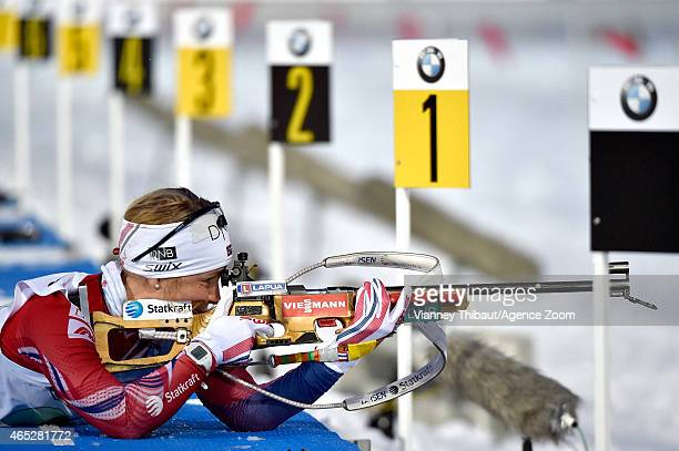 Tiril Eckhoff of Norway takes 3rd place during the IBU Biathlon World Championships Mixed Relay on March 05 2015 in Kontiolahti Finland