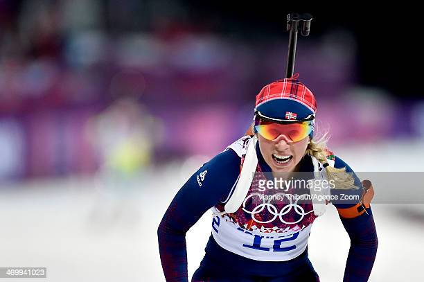 Tiril Eckhoff of Norway wins bronze medal during the Biathlon Women's 125km Mass Start at the Laura Crosscountry Ski Biathlon Center on February 17...