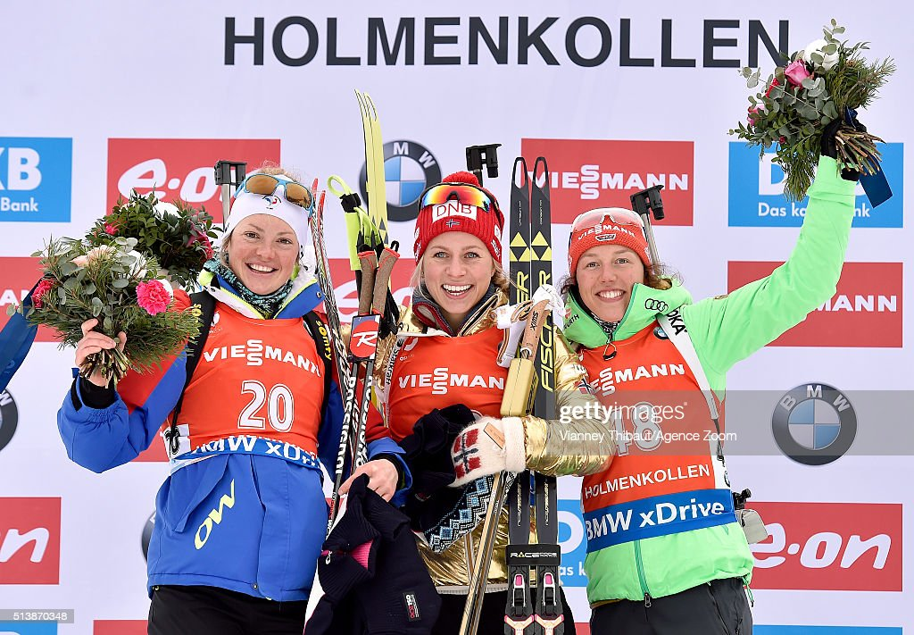 <a gi-track='captionPersonalityLinkClicked' href=/galleries/search?phrase=Tiril+Eckhoff&family=editorial&specificpeople=10023336 ng-click='$event.stopPropagation()'>Tiril Eckhoff</a> of Norway wins the gold medal, <a gi-track='captionPersonalityLinkClicked' href=/galleries/search?phrase=Marie+Dorin+Habert&family=editorial&specificpeople=8689694 ng-click='$event.stopPropagation()'>Marie Dorin Habert</a> of france wins the silver medal, <a gi-track='captionPersonalityLinkClicked' href=/galleries/search?phrase=Laura+Dahlmeier&family=editorial&specificpeople=10284324 ng-click='$event.stopPropagation()'>Laura Dahlmeier</a> of Germany wins the bronze medal during the IBU Biathlon World Championships Men's and Women's Sprint on March 5, 2016 in Oslo, Norway.