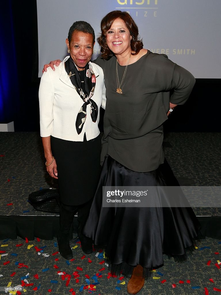 Tisch School of Arts Dean Mary Schmidt Campbell and honoree Anna Deavere Smith attend the 19th Annual Dorothy And Lillian Gish Prize Ceremony at The Vista 1 Chase Manhattan Plaza on February 13, 2013 in New York City.