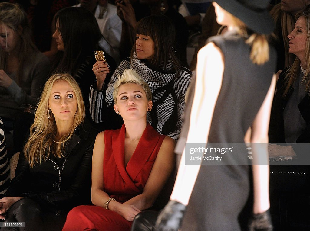 Tish Cyrus and <a gi-track='captionPersonalityLinkClicked' href=/galleries/search?phrase=Miley+Cyrus&family=editorial&specificpeople=3973523 ng-click='$event.stopPropagation()'>Miley Cyrus</a> attend Rachel Zoe during Fall 2013 Mercedes-Benz Fashion Week at The Studio at Lincoln Center on February 13, 2013 in New York City.