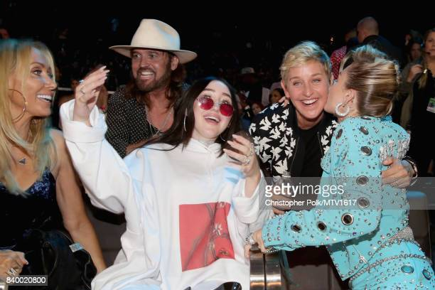 Tish Cyrus Billy Ray Cyrus Noah Cyrus Ellen DeGeneres and Miley Cyrus attend the 2017 MTV Video Music Awards at The Forum on August 27 2017 in...