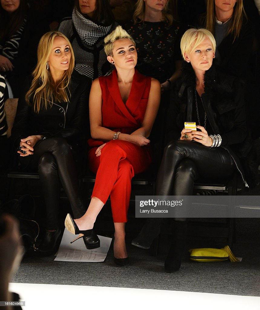 Tish Cyrus, <a gi-track='captionPersonalityLinkClicked' href=/galleries/search?phrase=Miley+Cyrus&family=editorial&specificpeople=3973523 ng-click='$event.stopPropagation()'>Miley Cyrus</a> and <a gi-track='captionPersonalityLinkClicked' href=/galleries/search?phrase=Joanna+Coles&family=editorial&specificpeople=4060670 ng-click='$event.stopPropagation()'>Joanna Coles</a> attend the Rachel Zoe Fall 2013 fashion show during Mercedes-Benz Fashion Week at The Studio at Lincoln Center on February 13, 2013 in New York City.