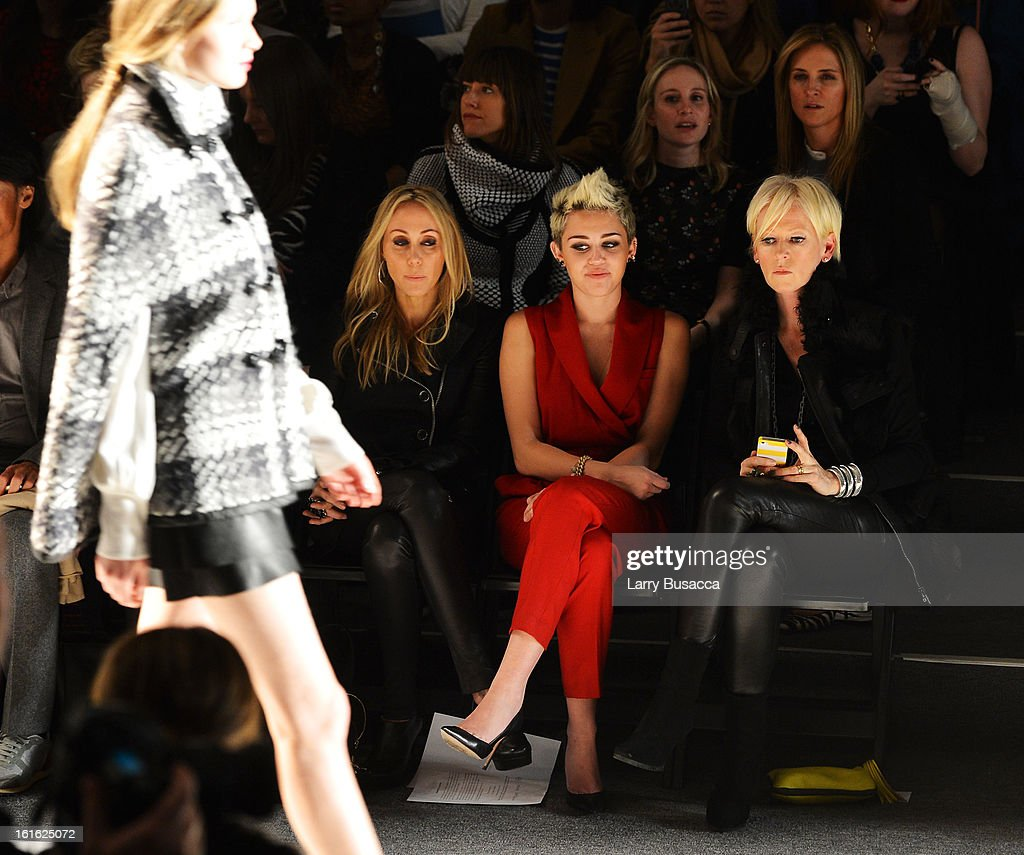 Tish Cyrus Miley Cyrus and Joanna Coles attend the Rachel Zoe Fall 2013 fashion show during MercedesBenz Fashion Week at The Studio at Lincoln Center...