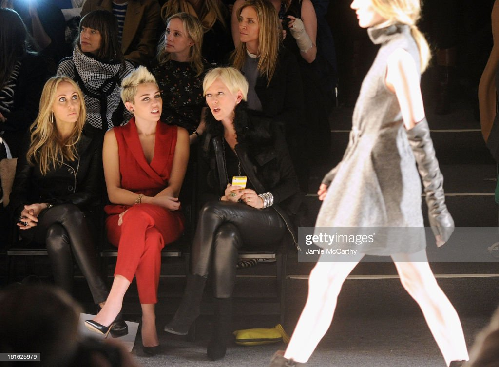 Tish Cyrus Miley Cyrus and Joanna Coles editorinchief of Marie Claire magazine attend Rachel Zoe during Fall 2013 MercedesBenz Fashion Week at The...
