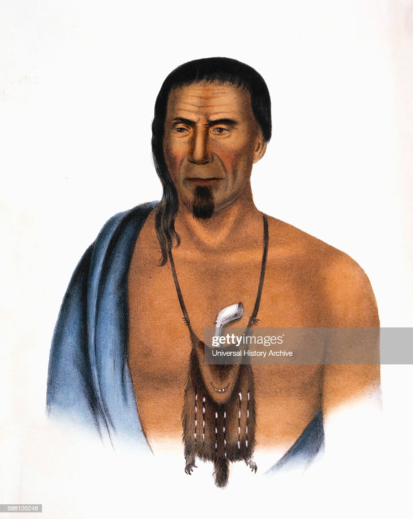 Tishcohan Delaware Chief HandColored Lithograph after Painting by Gustavus Hesselius 1838