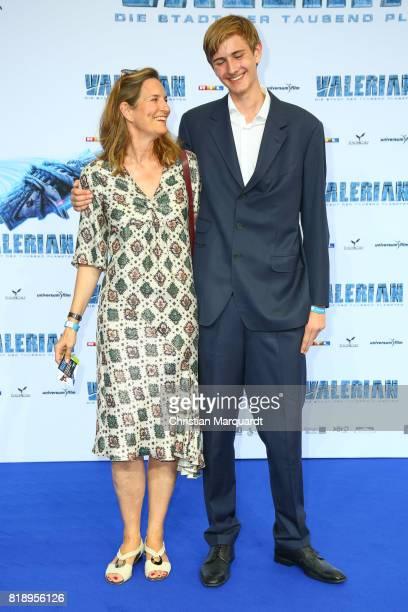 Tita von Hardenberg ans son Jacob Maximilian attends the German premiere of 'Valerian Die Stadt der Tausend Planeten' at CineStar on July 19 2017 in...