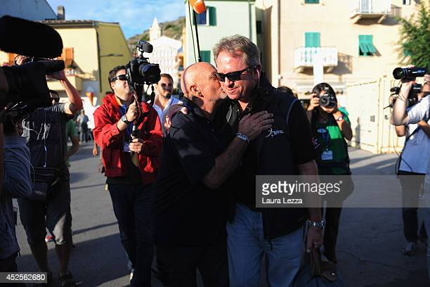Titan Senior Salvage Master Nick Sloane arrives in Giglio Porto before the departure of the wrecked cruise ship Costa Concordia on July 23 2014 in...