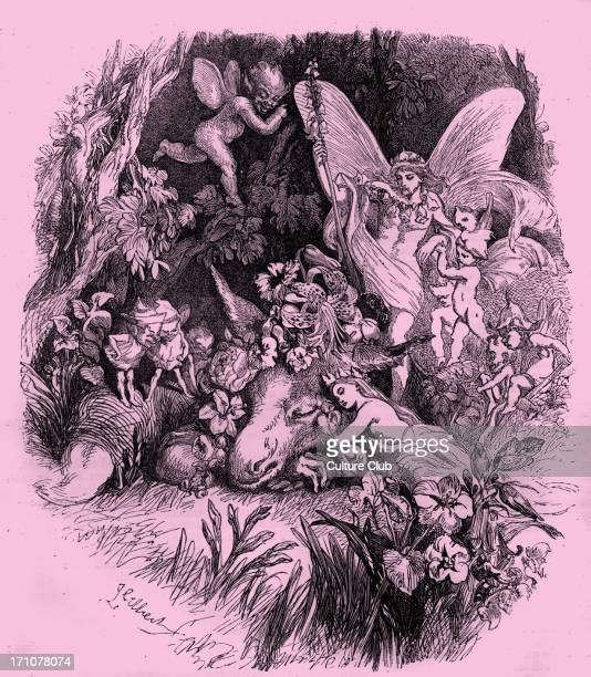 Titania and Bottom in A Midsummer Night's Dream 'Come sit thee down upon this flowery bed While I thy amiable cheeks do coy' Act IV Scene I The Wood...