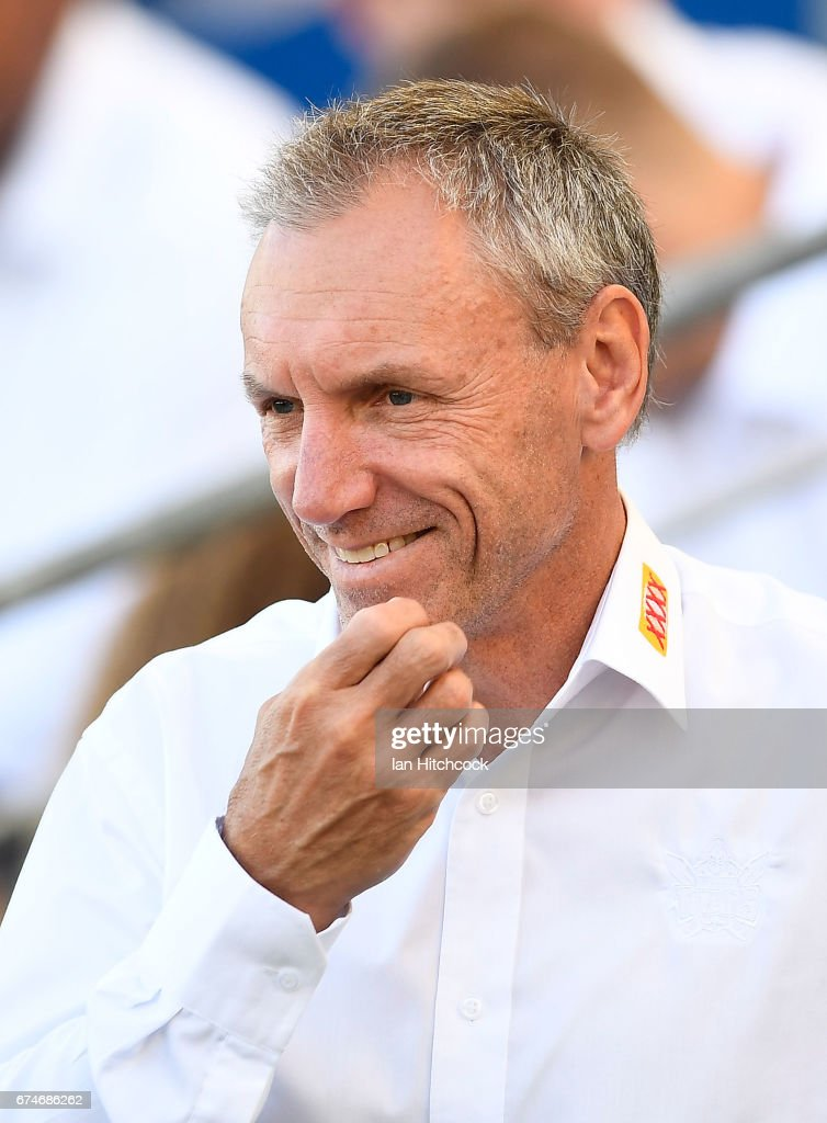 Titans coach Neil Henry looks on before the start of the round nine NRL match between the Gold Coast Titans and the Newcastle Knights at Cbus Super Stadium on April 29, 2017 in Gold Coast, Australia.