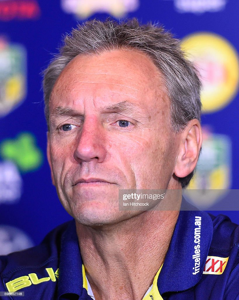 Titans coach Neil Henry looks on during the post match media conference at the end of during the round 26 NRL match between the North Queensland Cowboys and the Gold Coast Titans at 1300SMILES Stadium on September 3, 2016 in Townsville, Australia.
