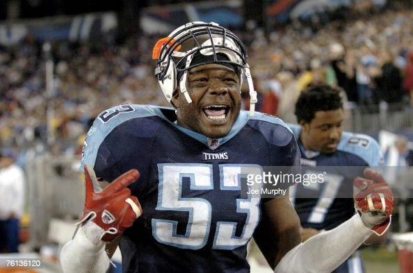 Titans linebacker Keith Bullock celebrates on the sideline after Tennessee defeated the New York Giants at LP Field on a lastminute 49yard field goal...