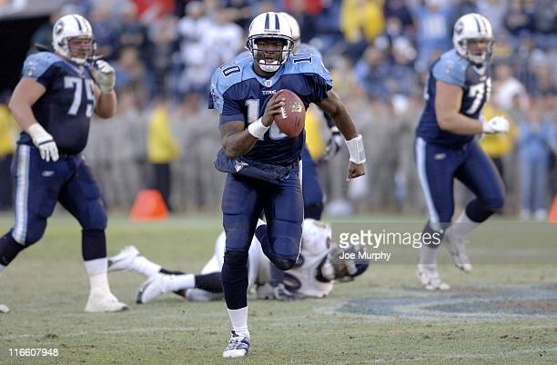 Titans rookie quarterback Vince Young scrambles out of the pocket versus Baltimore at LP Field Nashville Tennessee November 12 2006 The Ravens came...